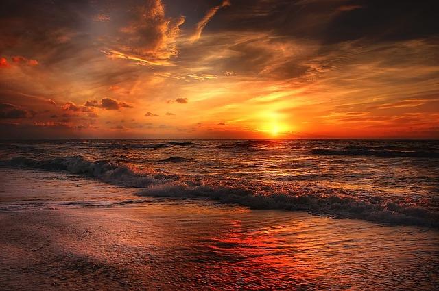 vlny, moře, západ slunce