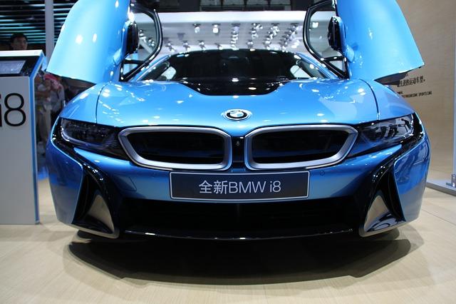 modré bmw i8